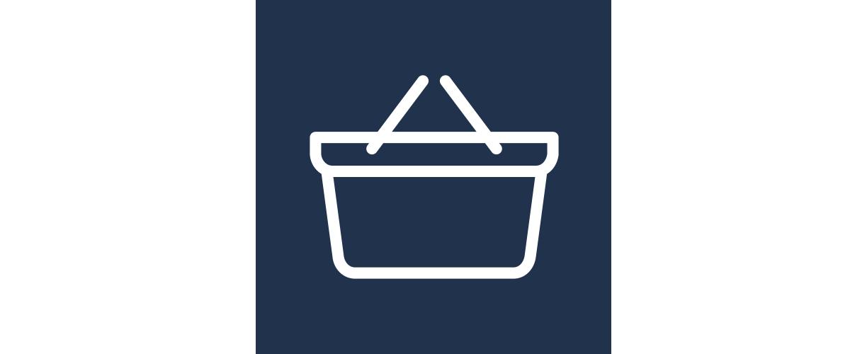 A blue shopping basket icon