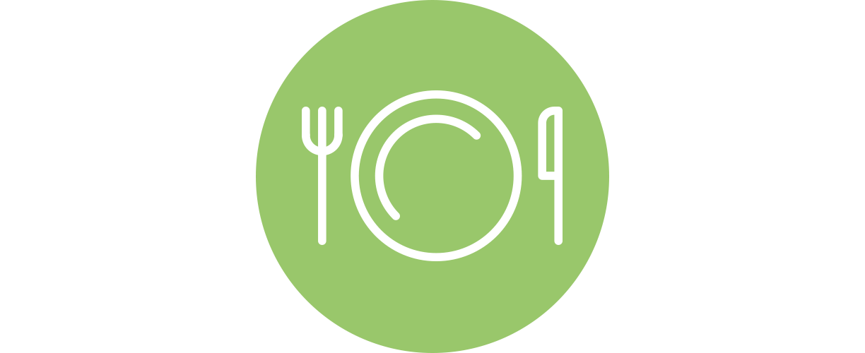 A green icon of a place setting