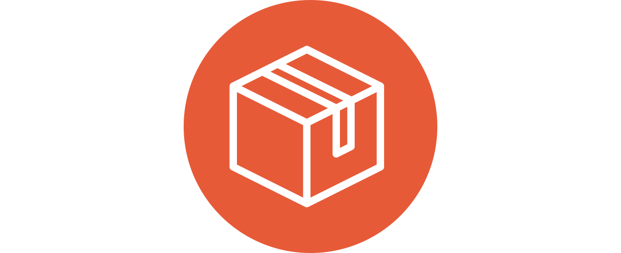 An orange icon with of a closed cardboard box