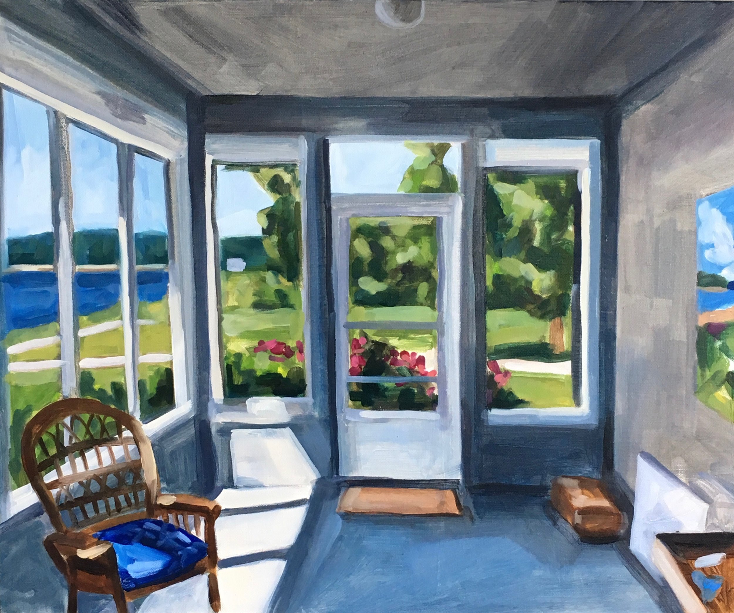 "EARLY SUMMER PORCH oil on canvas 20"" x 24"" 2018"