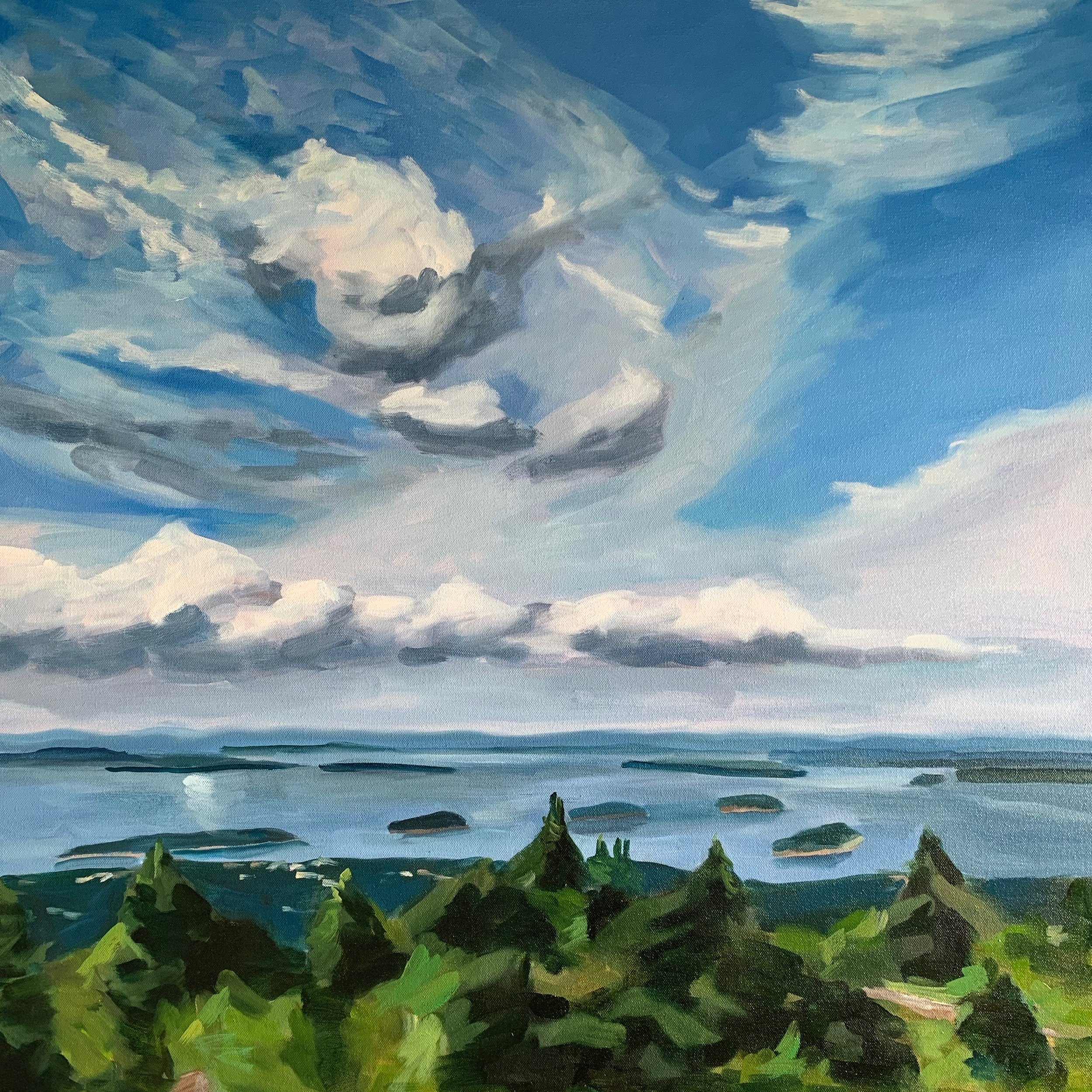 "CLOUDS OVER THE PORCUPINES FROM CADILLAC oil on canvas 30"" x 30"" 2019"