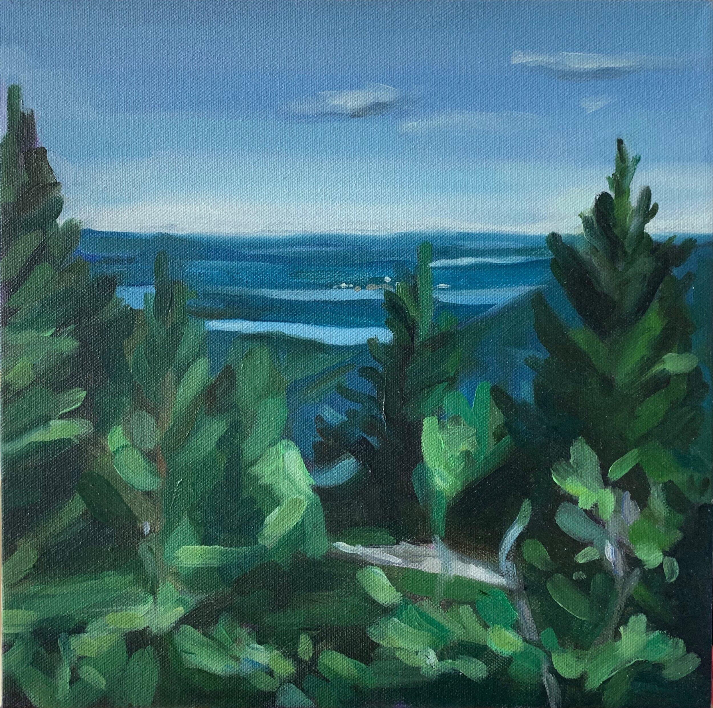 "VIEW FROM MOUNT DESERT ISLAND oil on canvas 12"" x 12"" 2019"