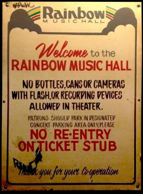 Rainbow Music Hall, Nov. 1979