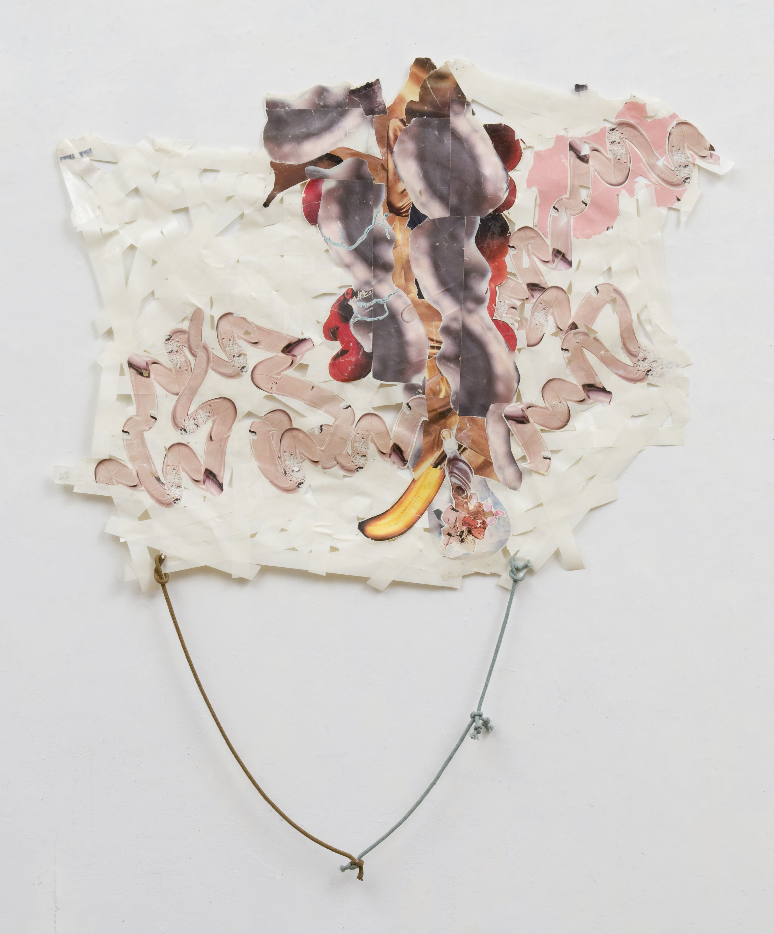 Predictions of My Own Demise , 2008 Magazine transferred onto tape, bag handles 40 x 31 inches