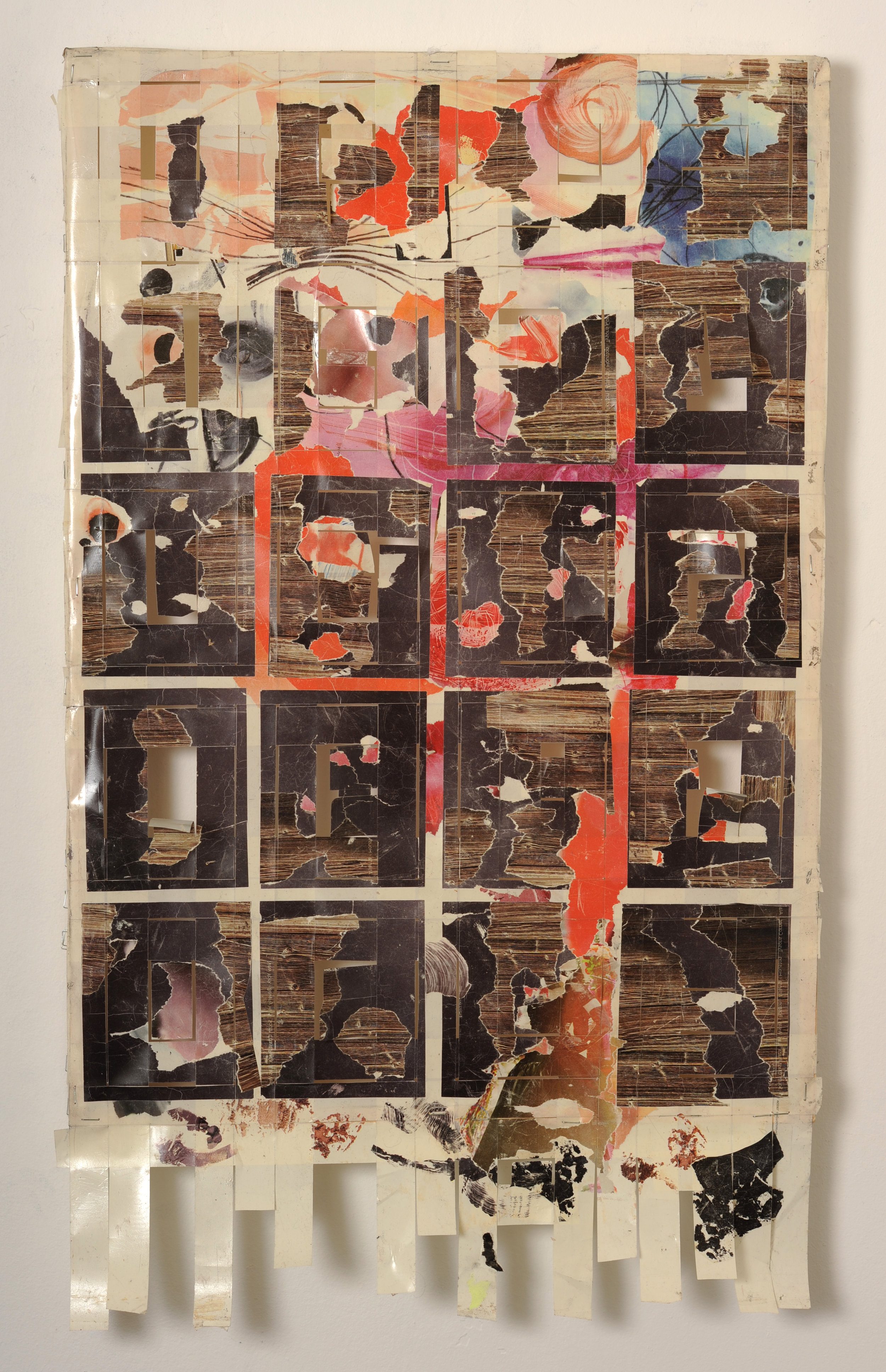 Corpus Markus , 2010 Torn and cut magazine arrangement transferred onto tape, wood, staples, spray paint 31 x 19 inches