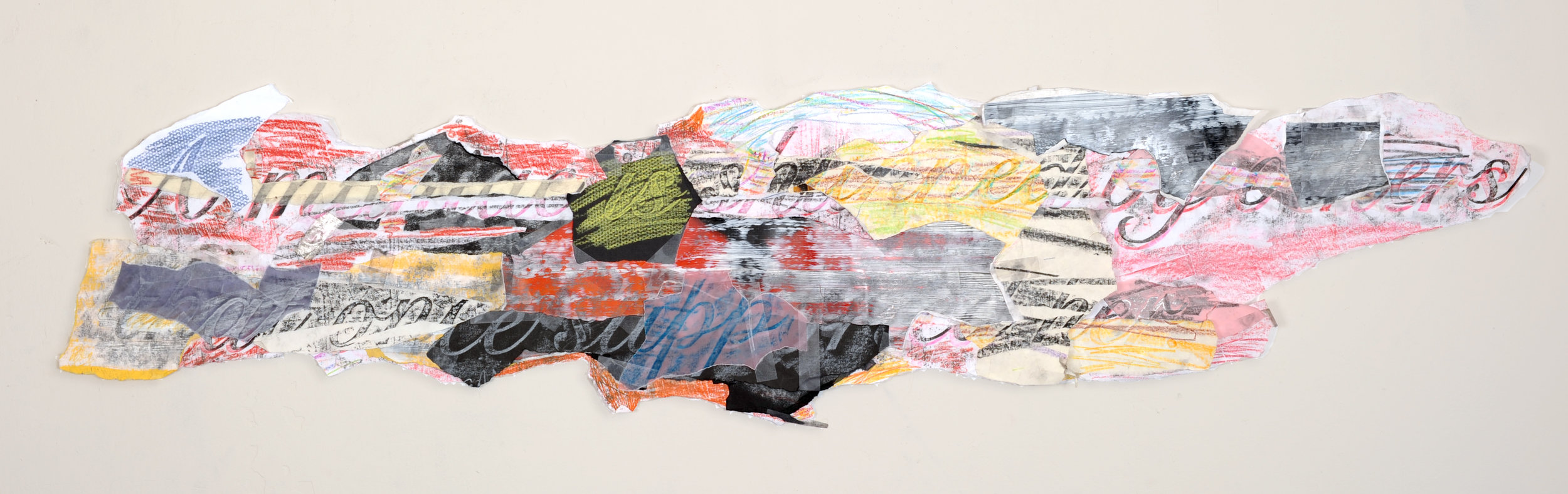 Synopsis #15 version 2 , 2009-11 Graphite, crayon, spray paint, photographs, paper, tape 12 x 58 inches