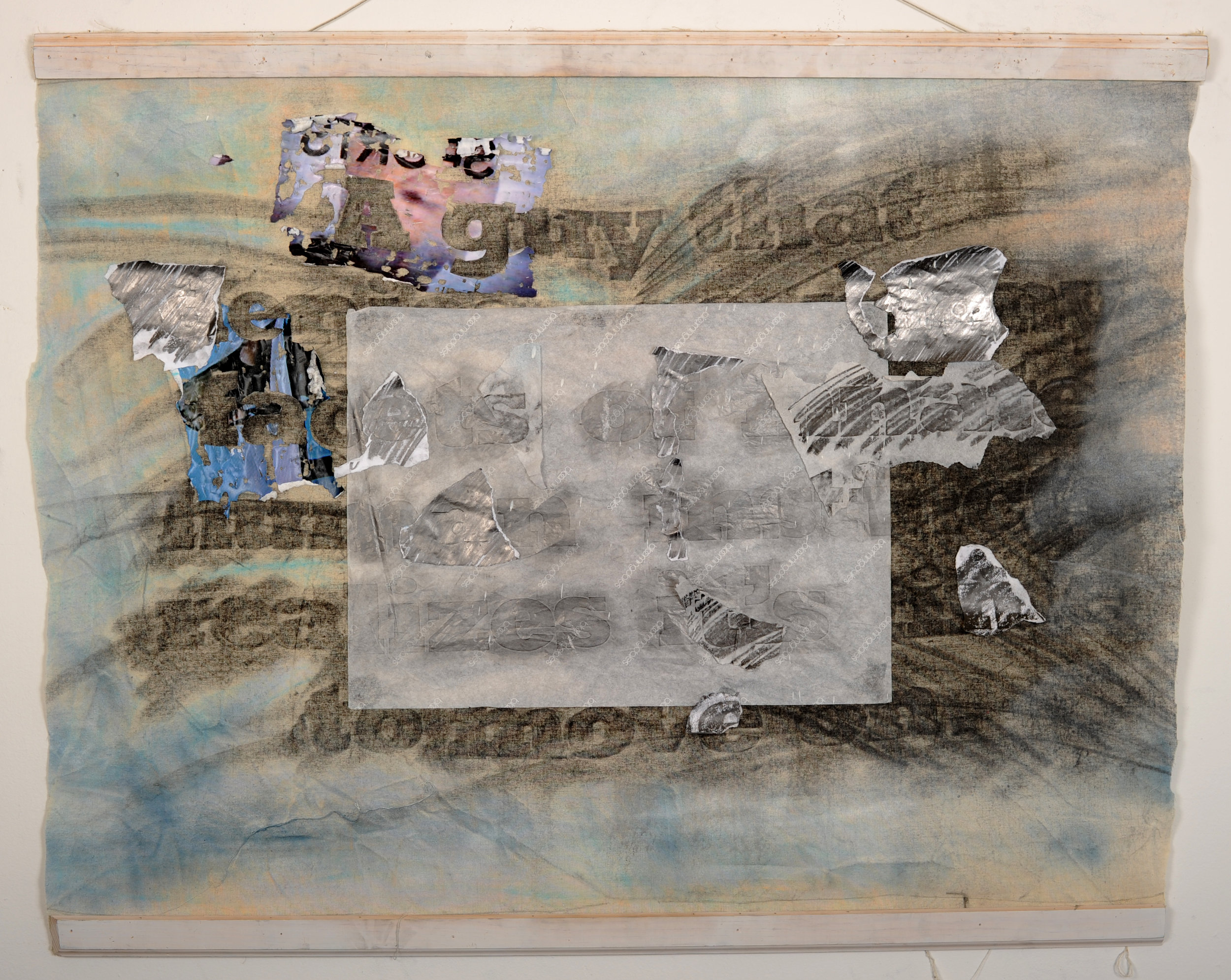 Inconclusive Conclusion , MS #75, 2011 Graphite, spray paint, pastel, shaved photos, tissue paper, muslin, wood, wire 40 x 43 inches