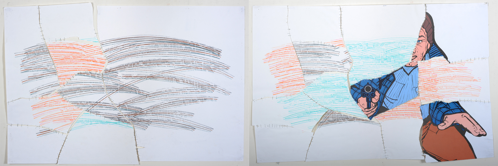 Things Change , 2010 Paper, poster, color pencil, staples Approximately 26 x 38 inches each