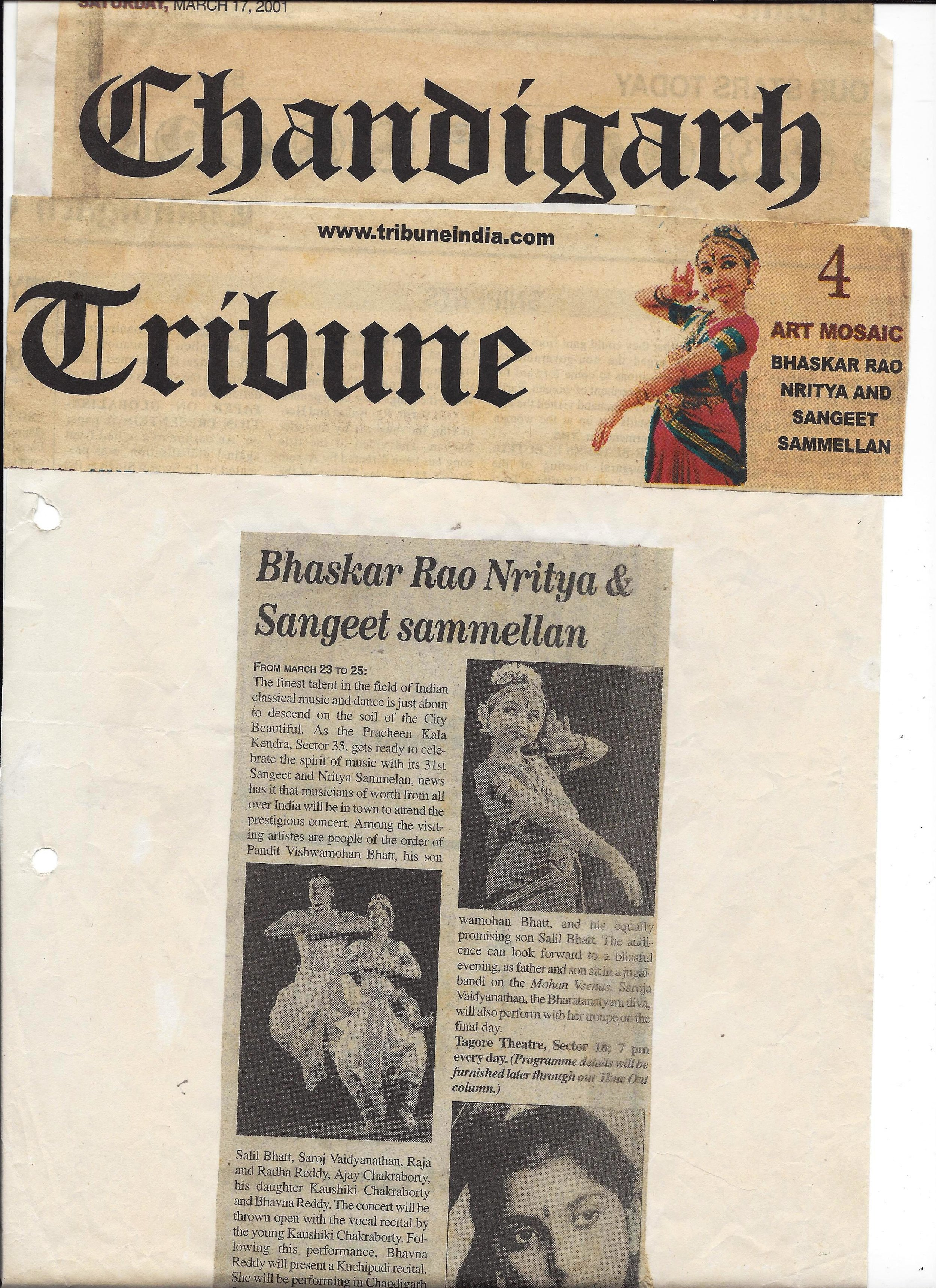 Chandigarh Tribune 2001