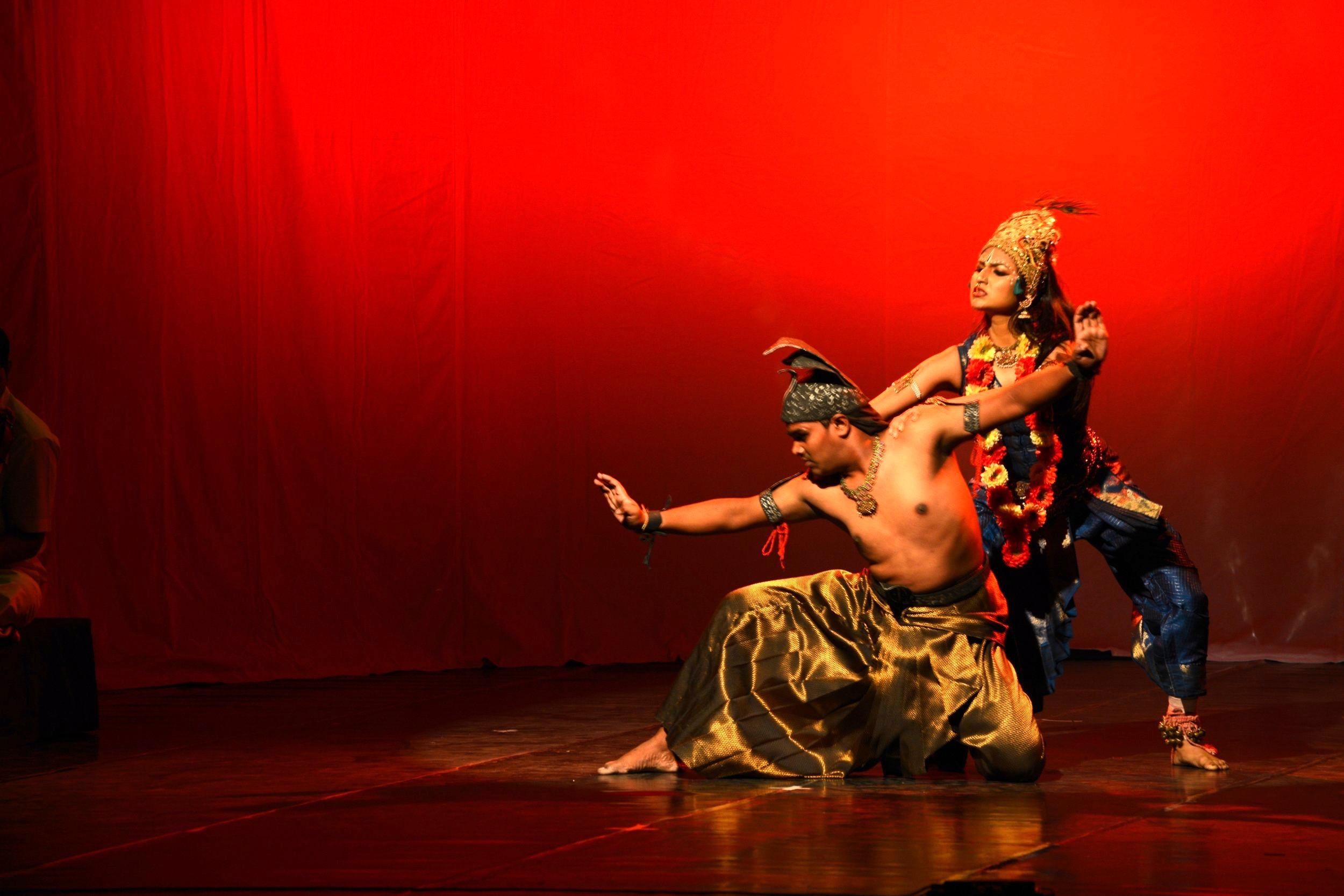 Lord Krishna fighting the vicious serpent Kaliyah