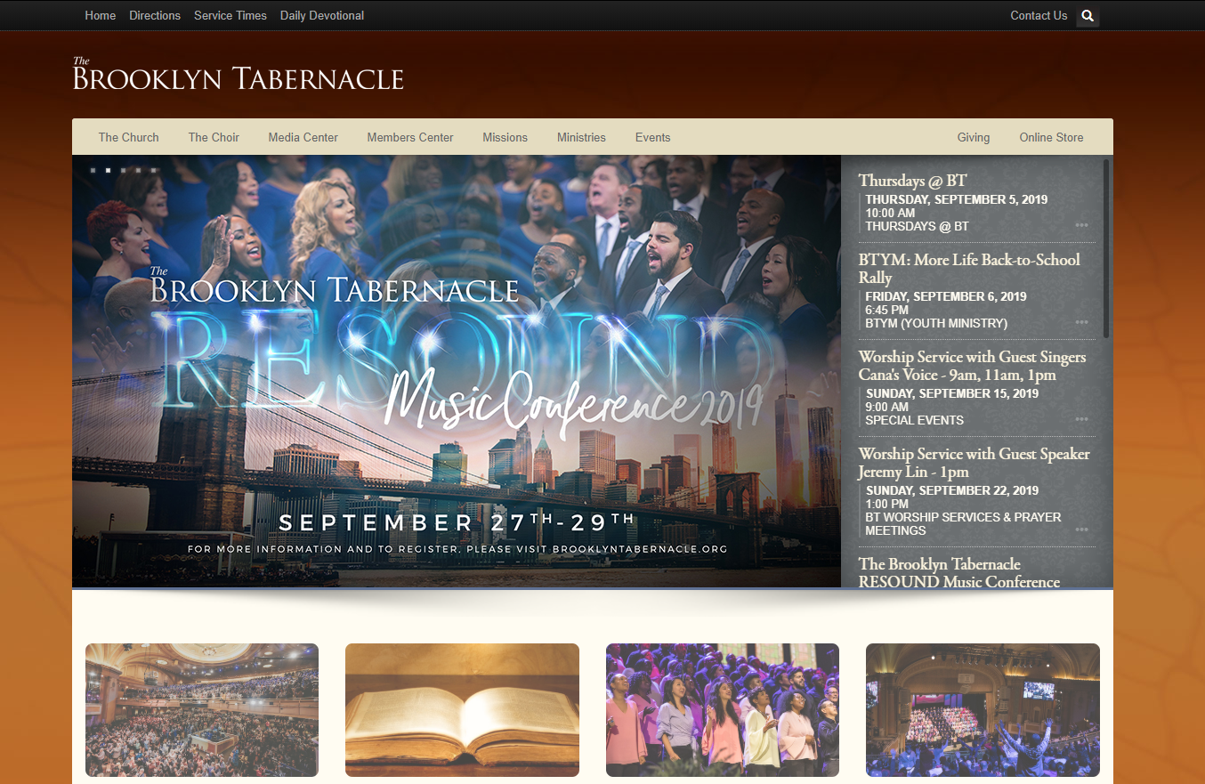 Screenshot of the church's home page from September 2019.