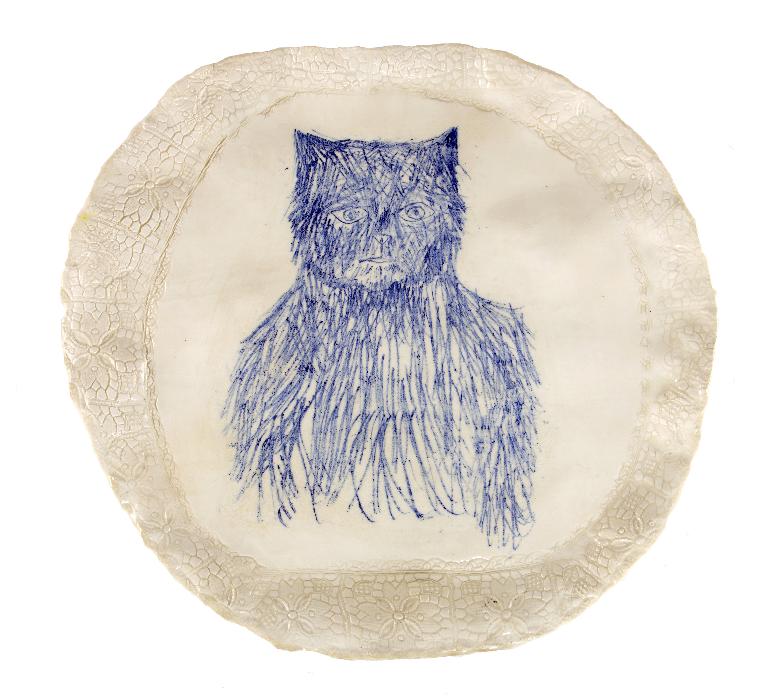 Echo - Ceramic plate with cobalt drawing and lace textured border.I adopted a homeless cat called Echo who inspired a whole series of plates.