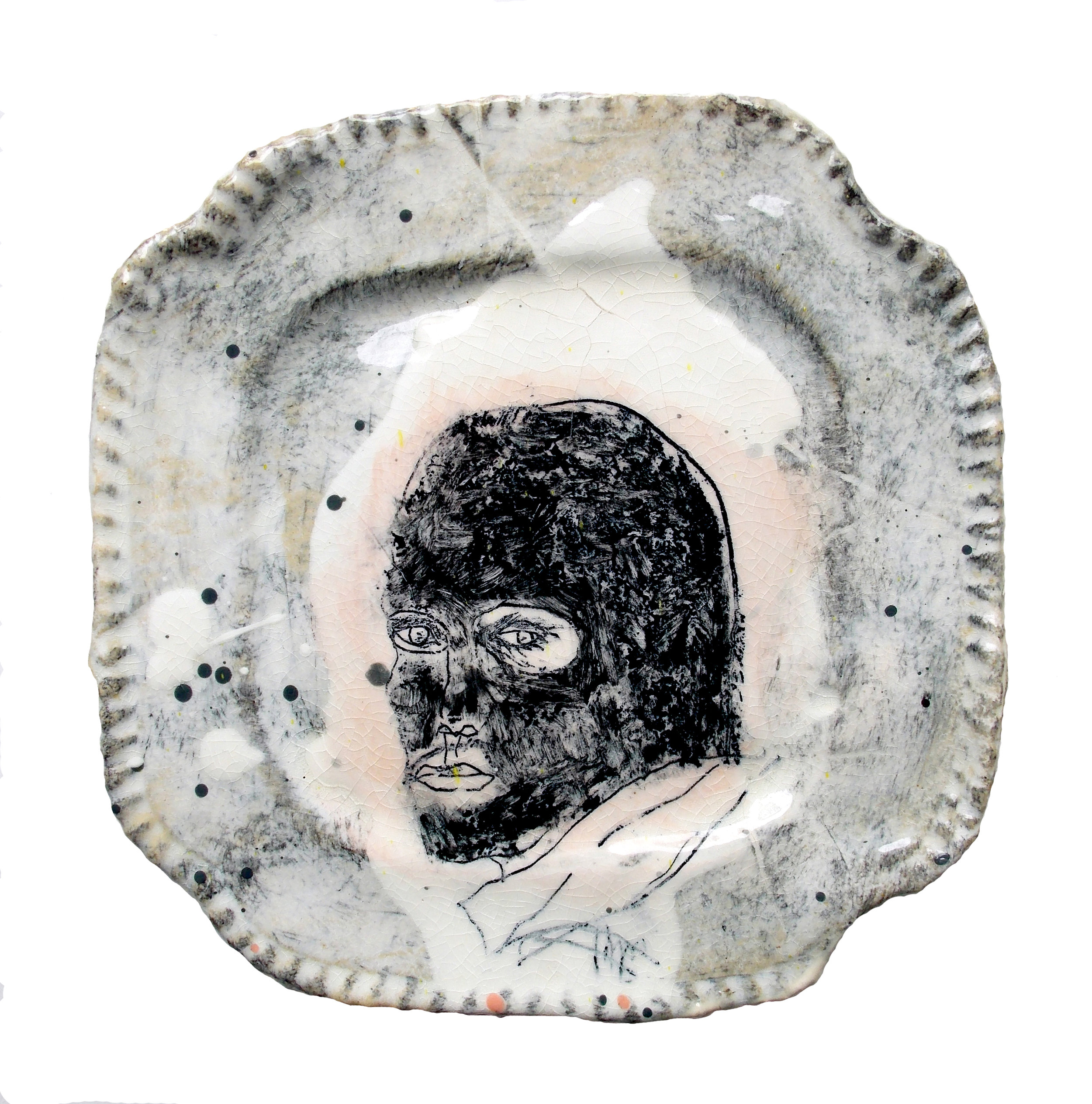 Balaclava man and the art scam - Ceramic plate with mono-printed drawing and clear glaze.My work is divided between the abstract and the figurative overlapping in a lively and expressive process of transformation.I am fascinated with materiality and the tension that operates between two and three dimensions.Balaclava man and the art scam represents the dark side of art scammers who contact artists pretending to be interested in buying their work under various different guises.