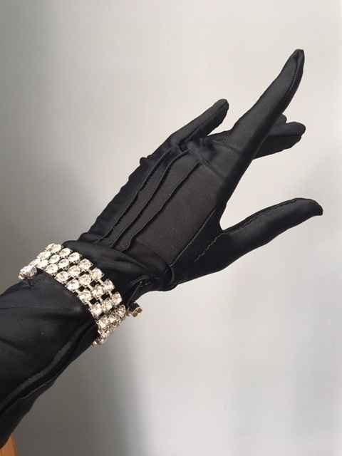 Hand-Sewn Gloves w/ Rhinestone Wrapped Zipper Pull