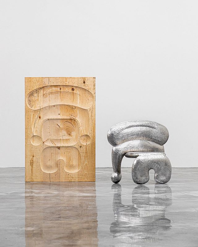 """ALUMINUM CHAIR 5 by Soren Ferguson 5052 Aluminum 16.5 x 14.25 x 33 $4,000 • Two aluminum sheets walk into a bar... they're hammered into a hand-carved mold, cut, reflected, bent, bolted, and welded together. The result? A playfully """"inflated"""" chair with a whole lot of character. This is the fifth chair Soren Ferguson has ever produced using such a unique mode of production. With repeated use of the soft pine mold, he wears it down to an unusable state which eventually forces the design to terminate. • For inquiries/acquisitions, DM or email us: hello@igc.design 📧 • #chairdesign #collectiblefurniture #conceptualdesign #chair love #contemporarydesign #collectibledesign #objectdesign #designdetail #seating #designshow #groupshow #luxuryfurniture #interiordesign #modernhome #designstudio #furnituredesigner #moderndesign #designshowroom #designcollection #chairs #fernandomastrangelo #ingoodcompany2019 #sorenferguson #igcdesign"""