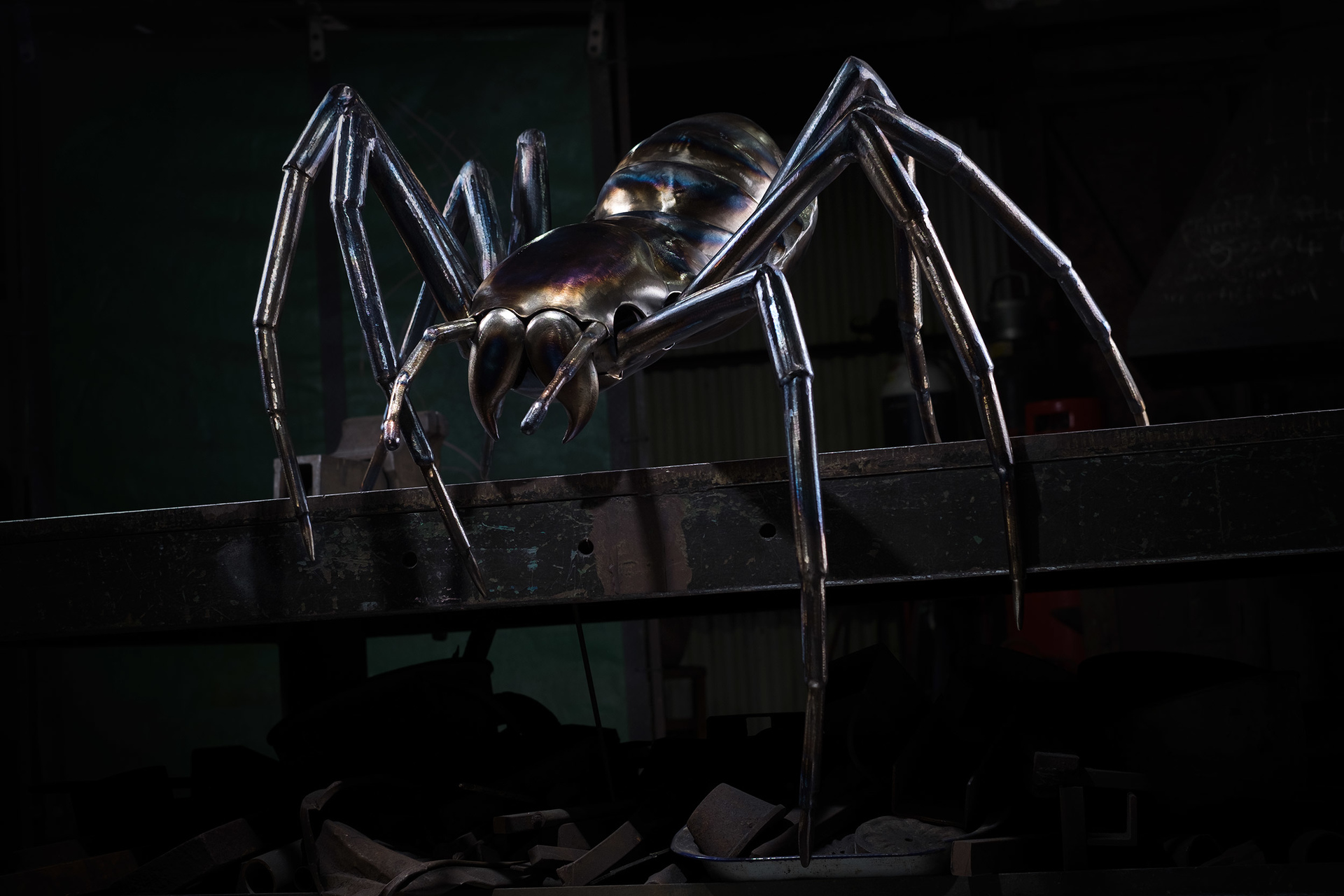 Metal Arachnid sculpture by Gary & Thomas Thrussel.