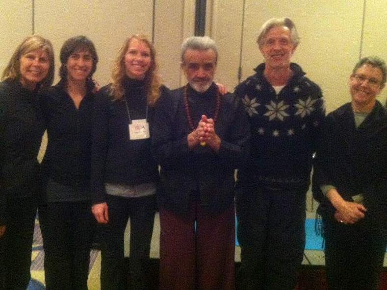Carolyn studying with Dharma Mittra