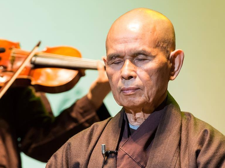 Carolyn studying with Thich Nhat Hanh