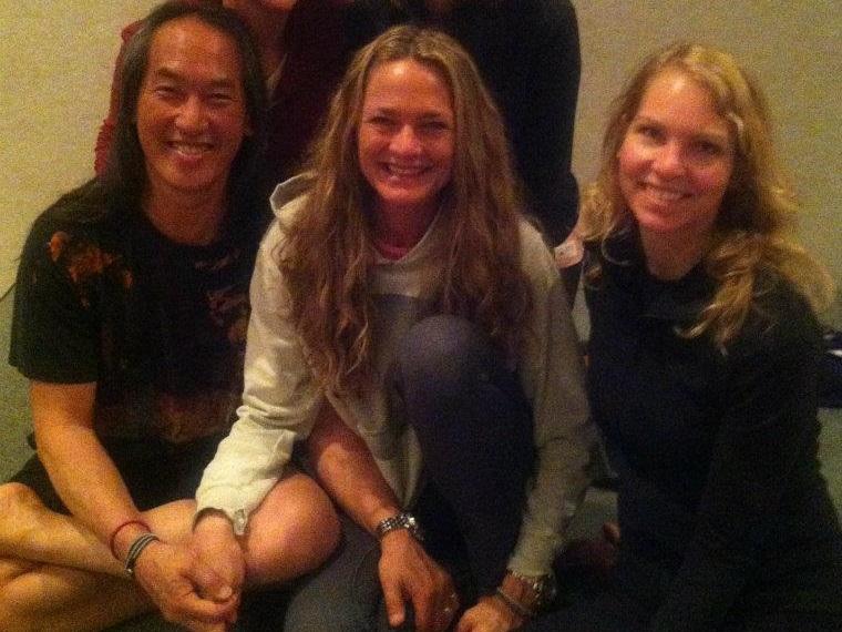 Carolyn Weatherson studying yoga with Rodney Yee and Colleen Yee