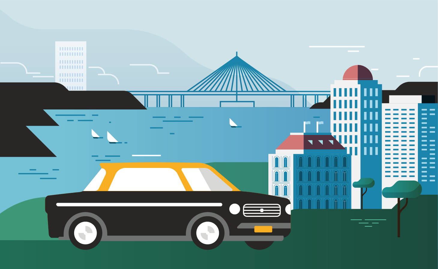 This illustration was created using Uber's vehicle guidelines to ensure that the artwork is consistent with the rest of the product icons. For the launch, I created a few illustrations with Mumbai's landscape using a custom colour palette, along with all App icons.