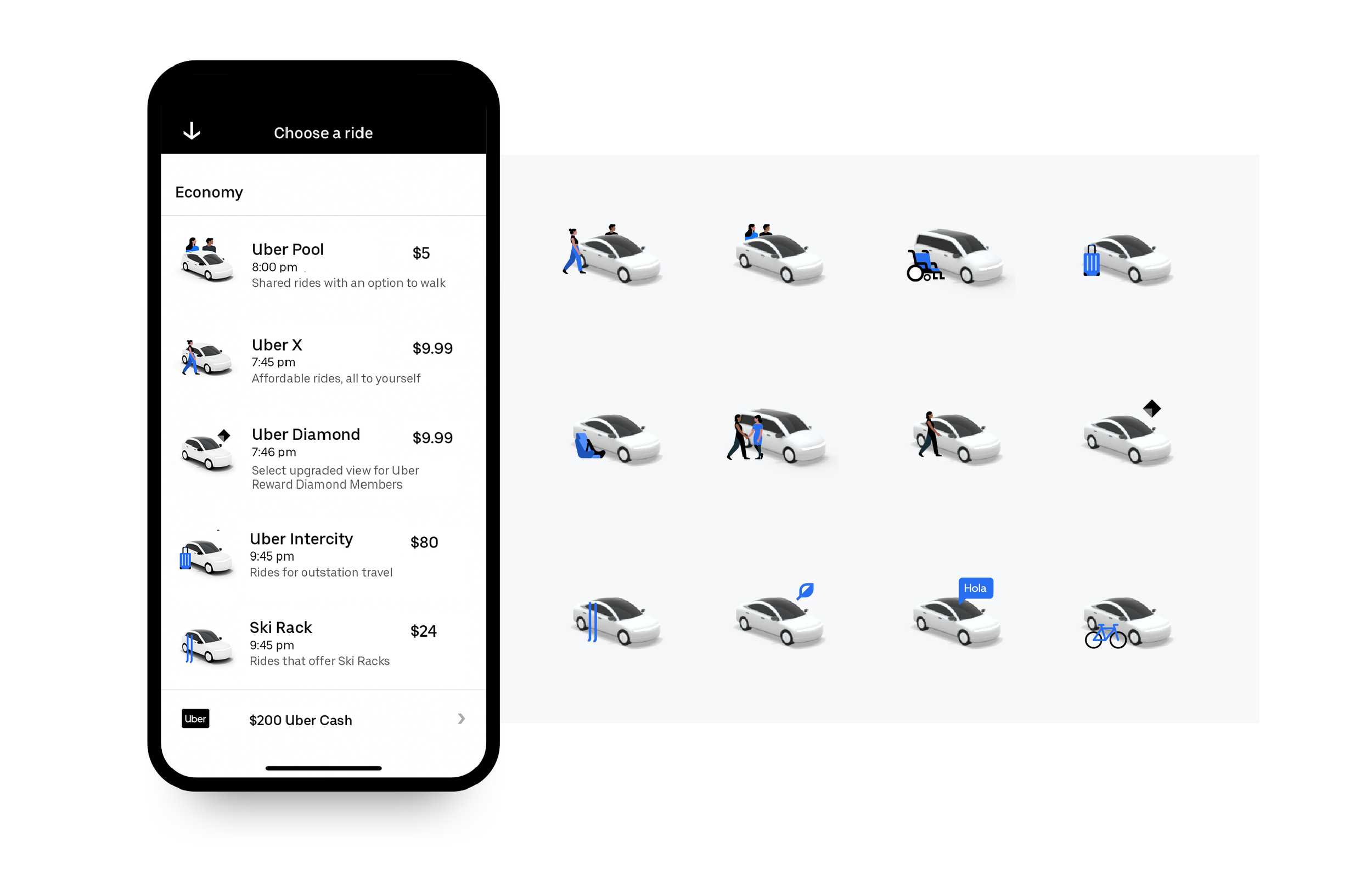 2D illustrations for the Uber App, in use globally. Done in collaboration with Alice Yang from the illustration team.