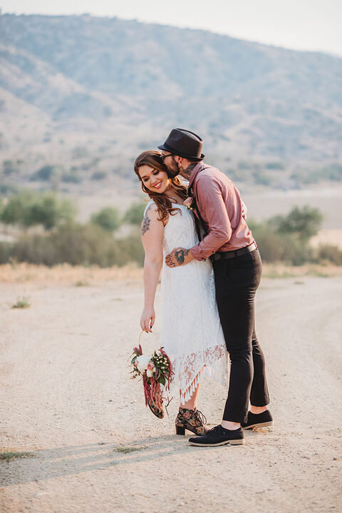eclectic bride and groom