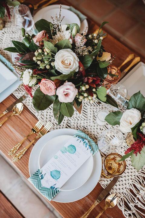 eclectic boho ranch wedding centerpiece