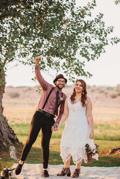eclectic wedding couple