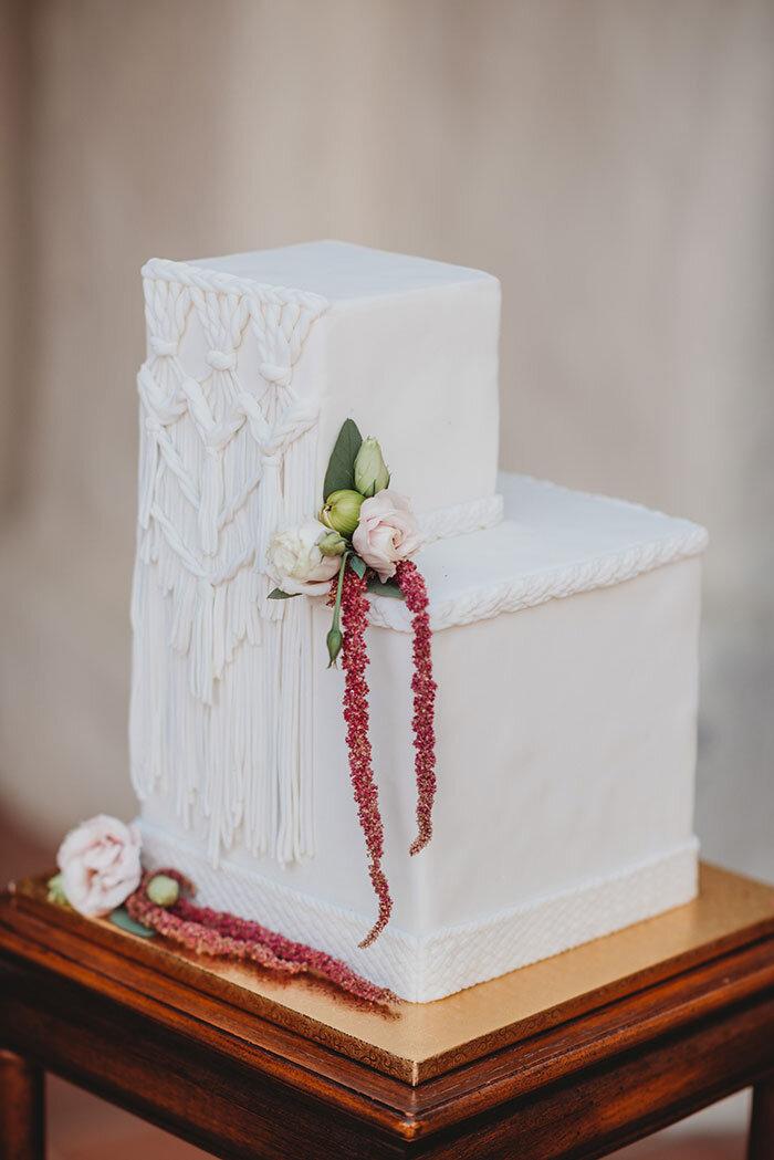 eclectic boho ranch macrame wedding cake