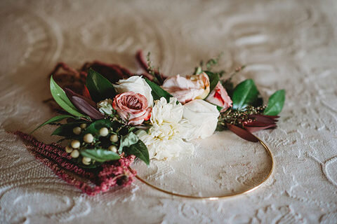 eclectic boho wedding hoop bouquet