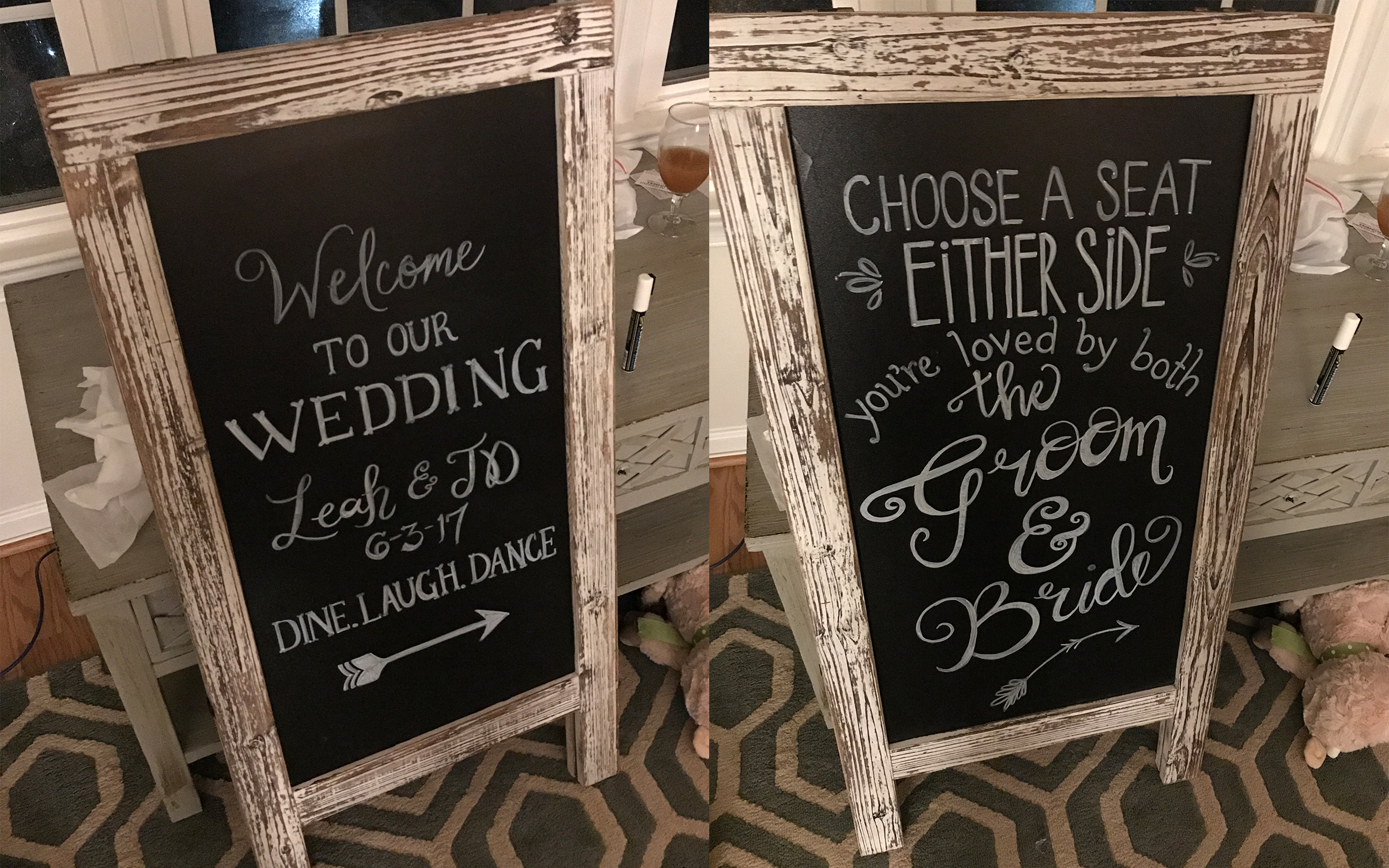 Chalkboard sign…. I did the lettering. Not sure what else to say about this but I can do this for you, too. :)