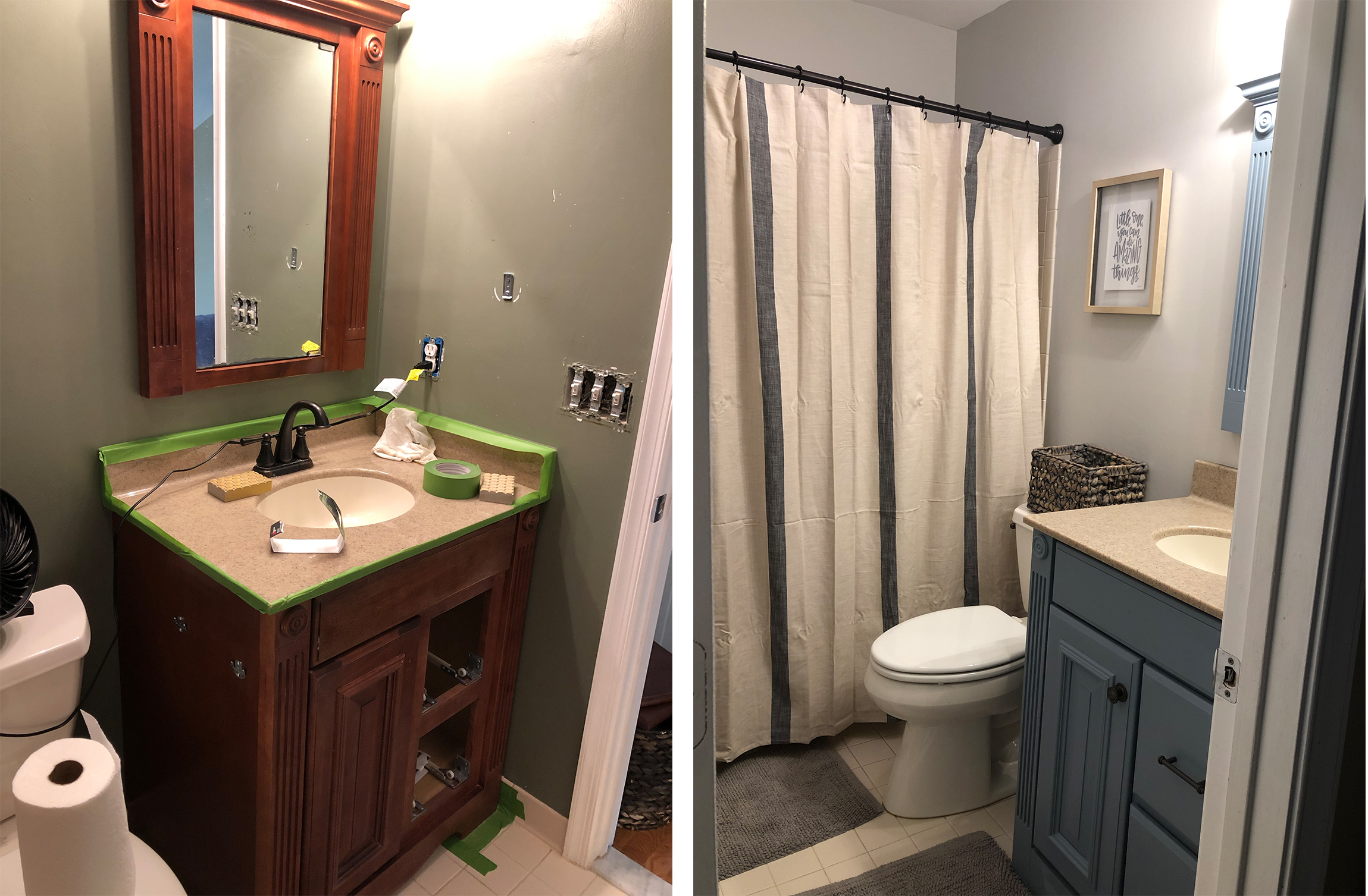 The kid's bathroom - this poor bathroom was stuck in the '90s - I upgraded her like Beyonce.