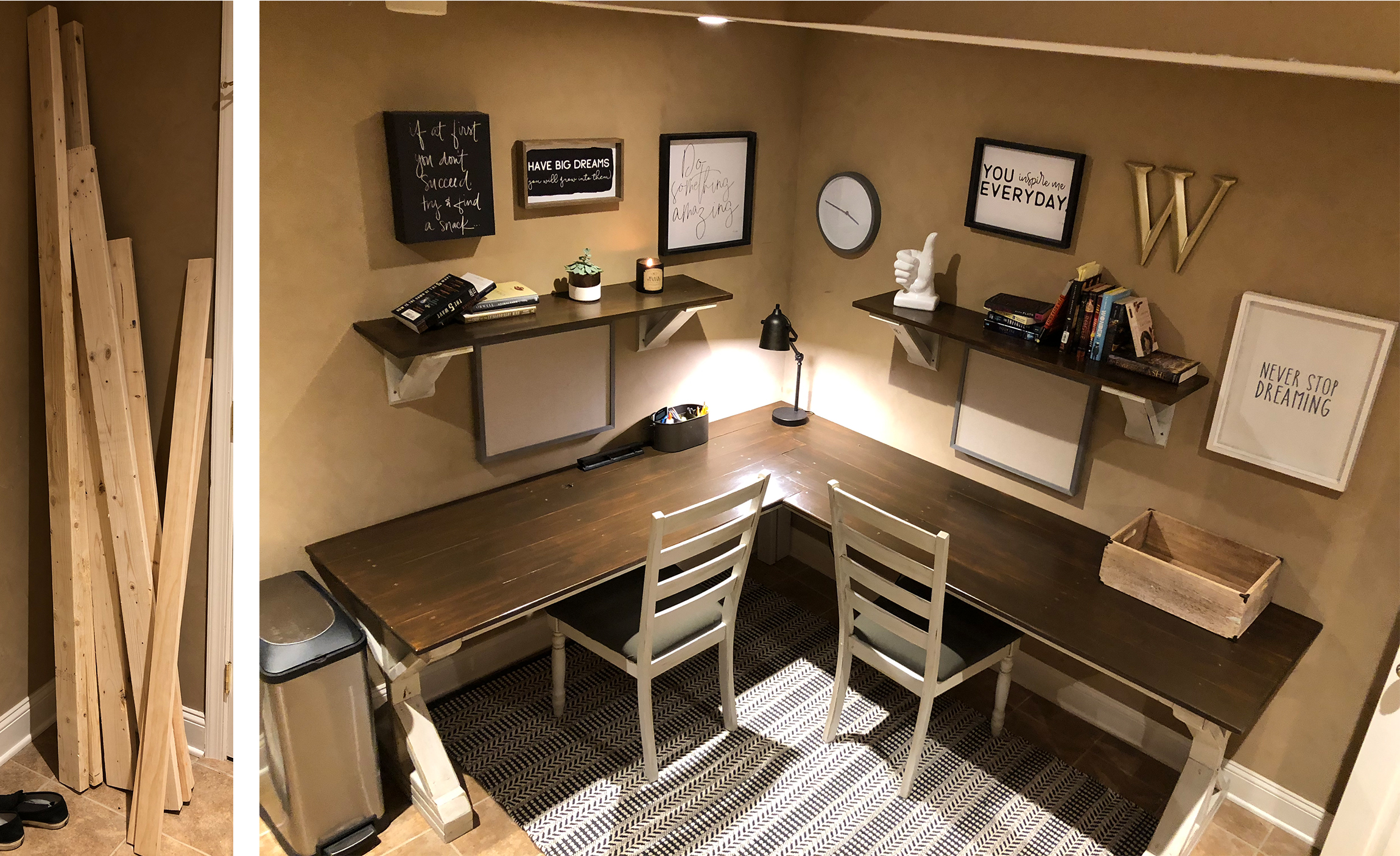 """We were going to buy a desk for this awkward space in our house - but one day I say """"SCREW THIS"""" and decided to do it myself! Check out the blog about this desk (click photo)."""