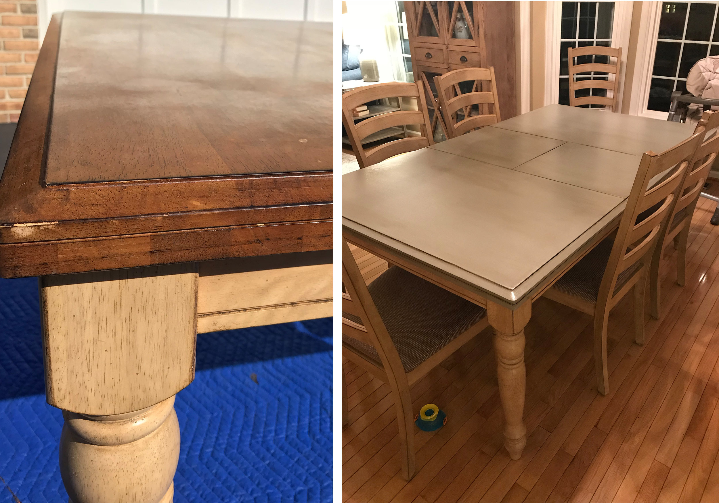 Kids, man. I tell ya. They ruined my table … so I sanded it down and painted it. And poly'ed it… like, a LOT.
