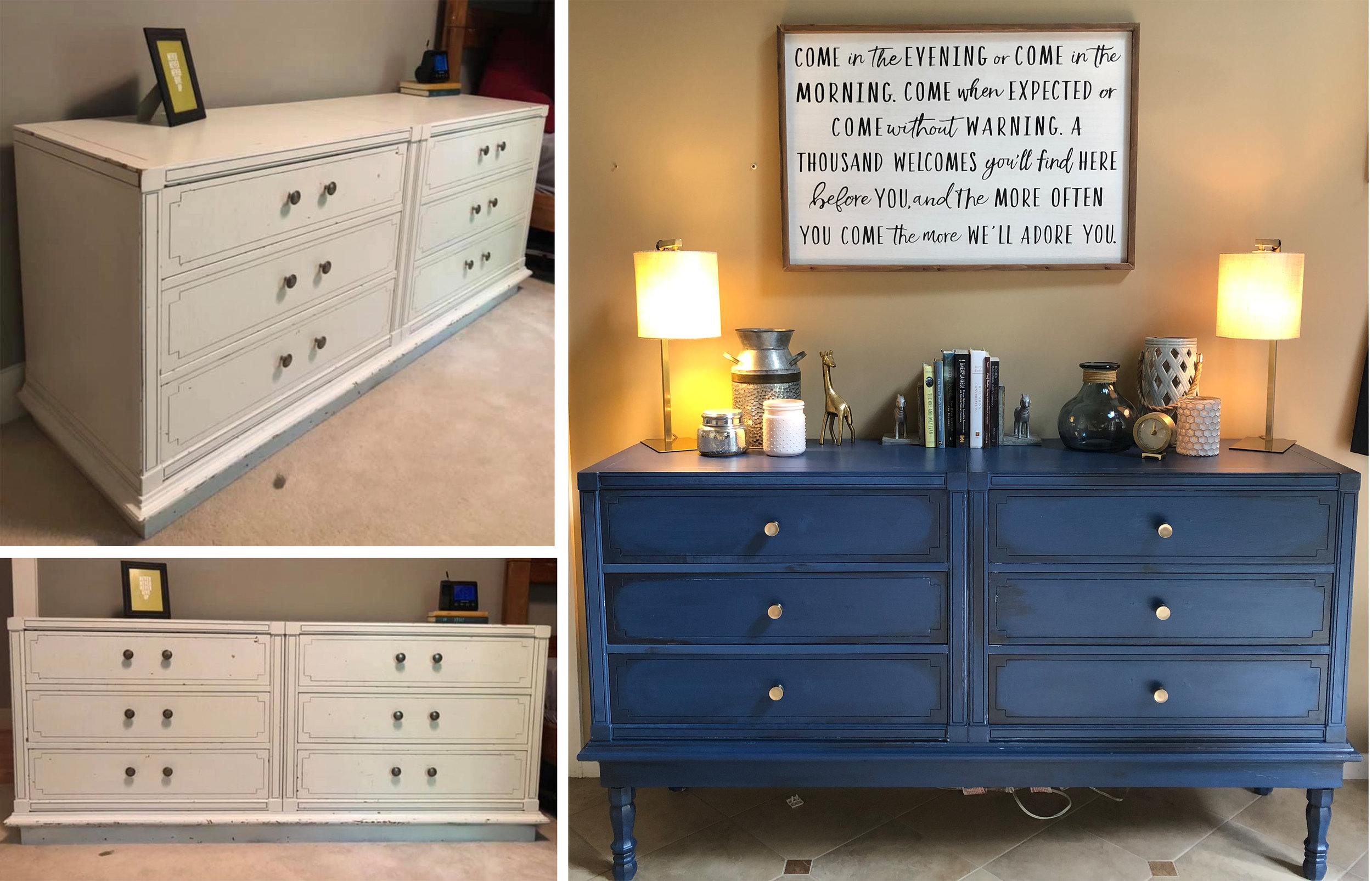 I'm OBSESSED with this. I found this dresser on Marketplace… I gave her some legs (whoop whoop) and a new coat of paint… a little distressing and I smile bigger walking into our foyer, now. <3