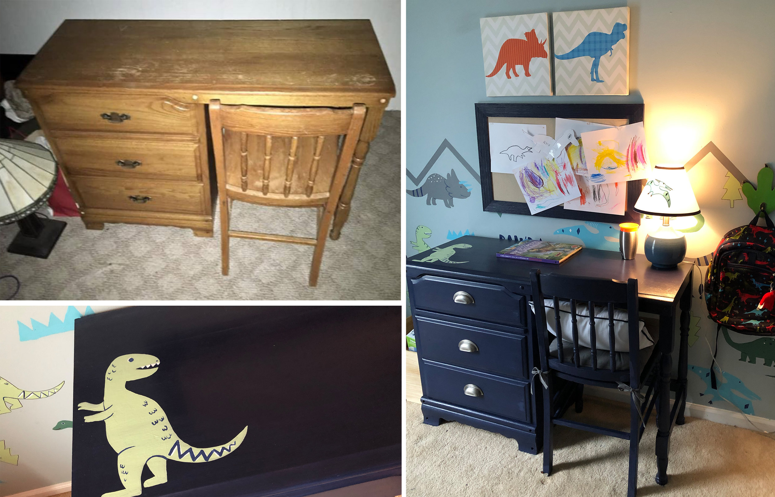 Another Marketplace find!! $10-desk-turned-dino-desk for my dino-loving three year old.