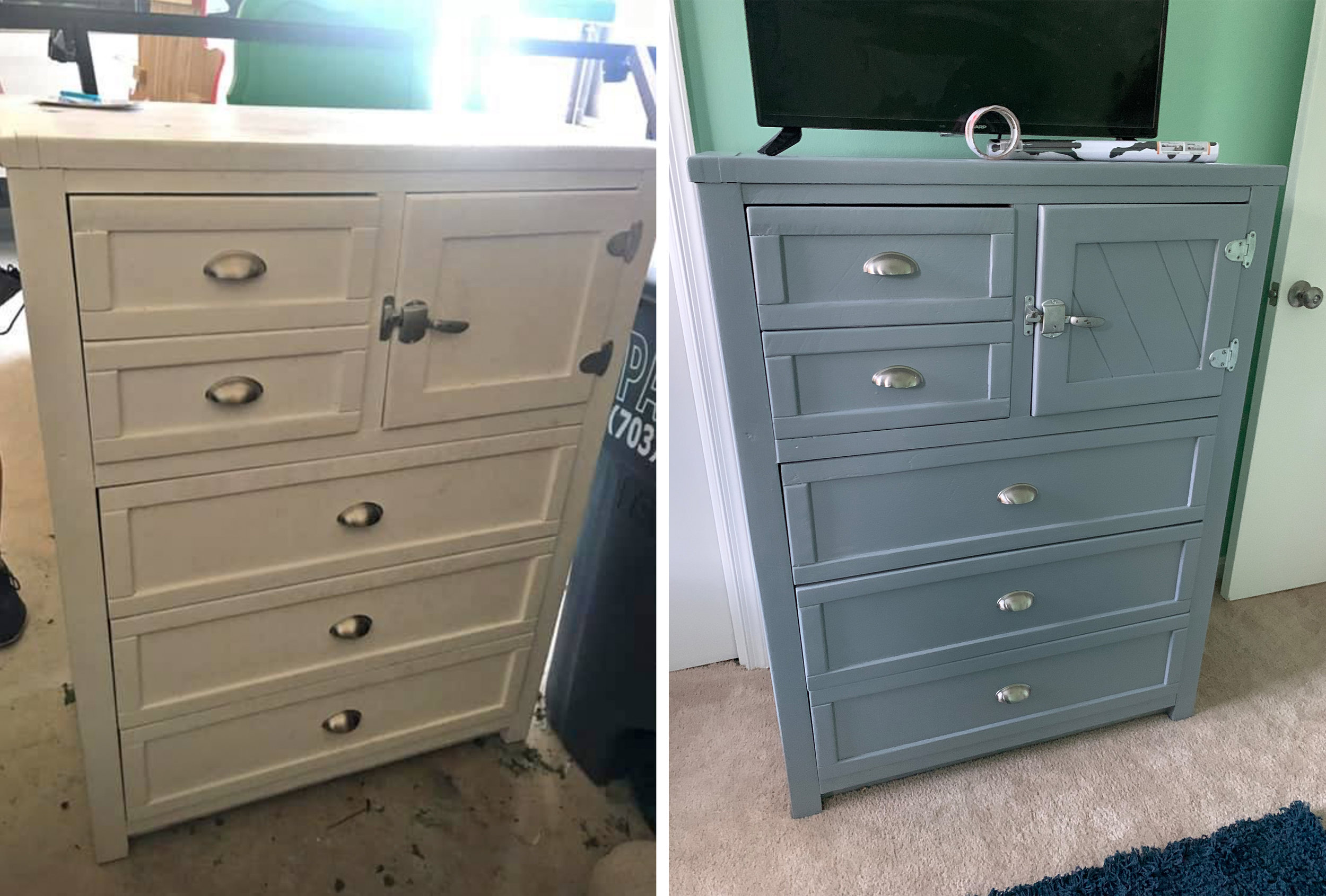 Have I mentioned how much I LOVE Marketplace?? I felt like a thief 'stealing' this three-piece solid wood bedroom set for only $30! (The other two pieces not pictured) ...A little sanding and a fresh coat of paint and these look brand new!