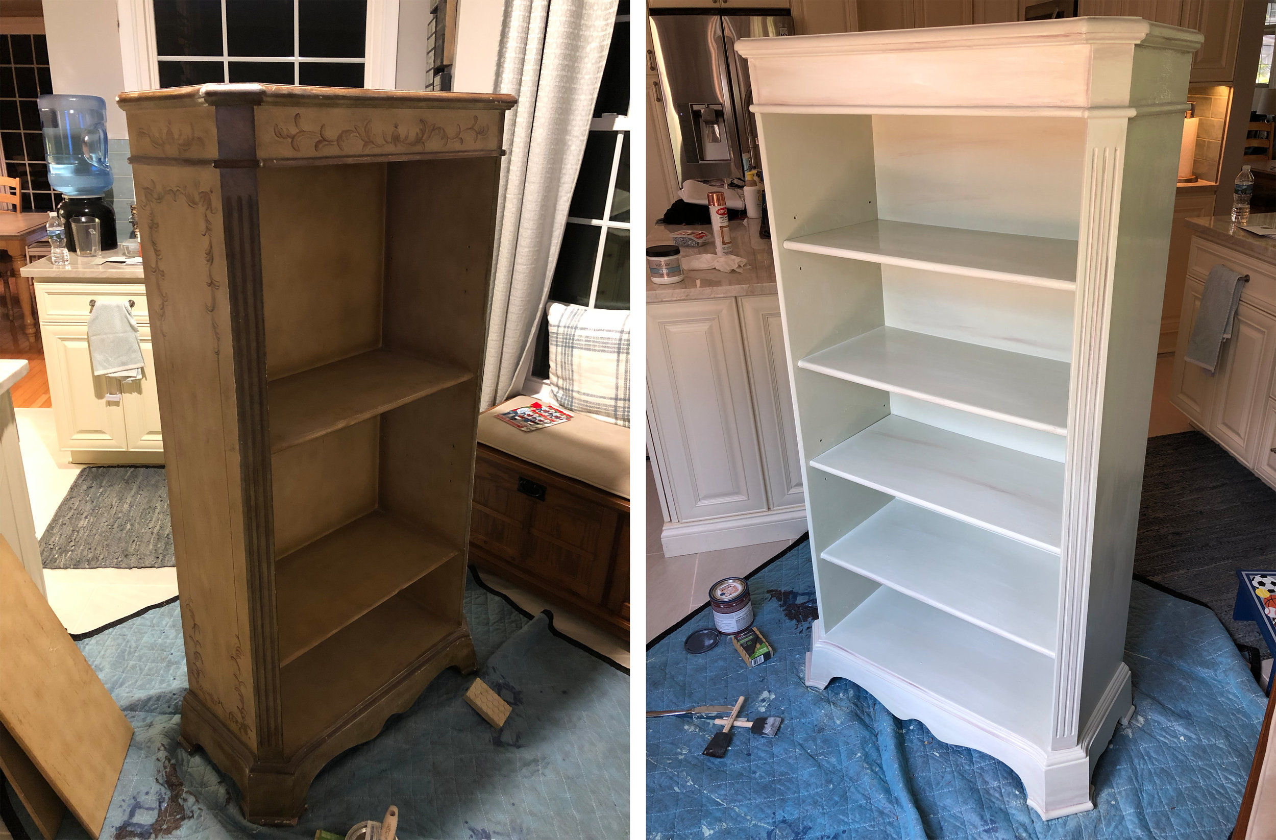 """Ok, seriously. This I got for $10 at a neighborhood yard sale. I was on a role with the refinishing crap. I dig this… mostly. Even with the fresh coat of paint, I couldn't cover up the """"I'm really old"""" vibe I'm getting from this bookshelf. Still trying to see if it grows on me. Regardless, LOVE the paint color. It's an off-white sage and it's GORG."""