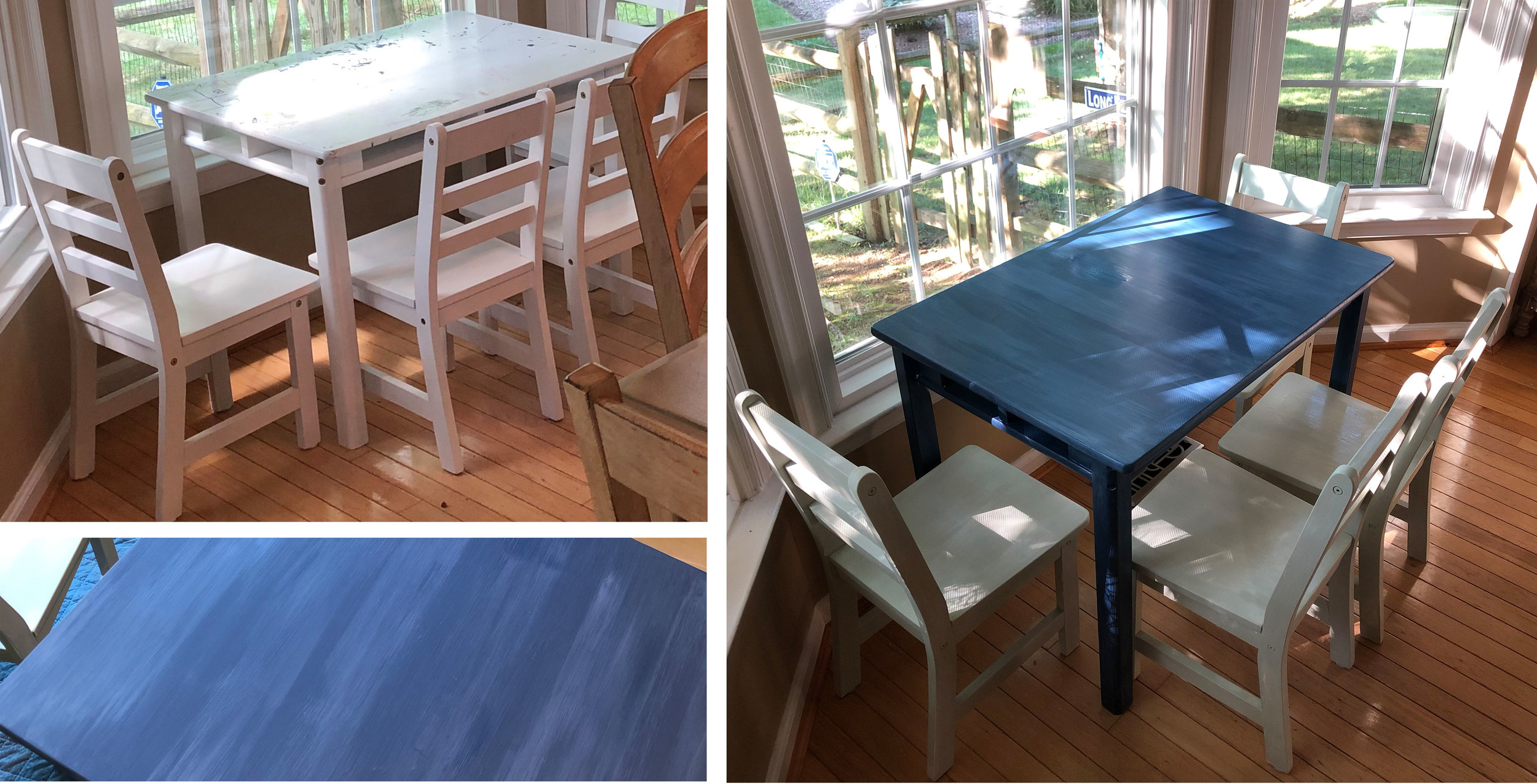I got this ADORABLE little kid's table for FREE on Marketplace. There's only one thing I love more than awesome Marketplace finds and that is FREE Marketplace finds!! Whoop whoop. I gave this a fresh coat of paint and a little lime-distressing and voila! A perfect table for my kids to look at. haha. JK.