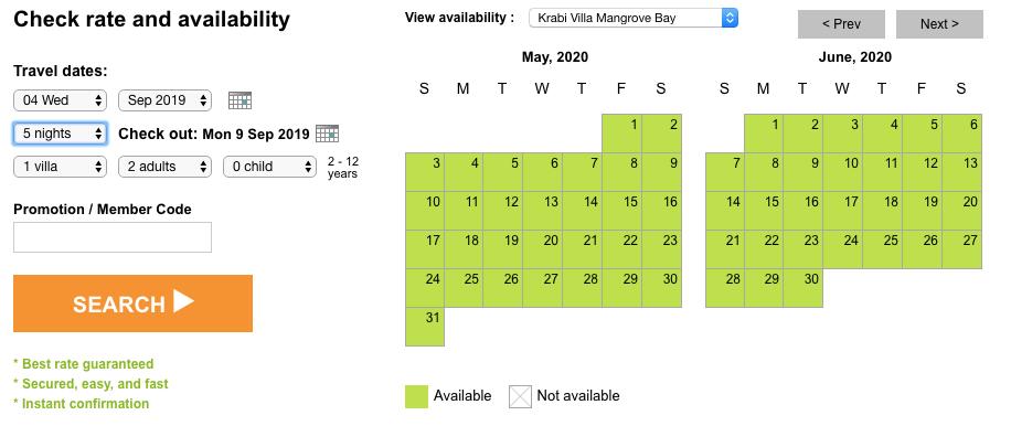 Villa Mangrove Bay availability and Rate