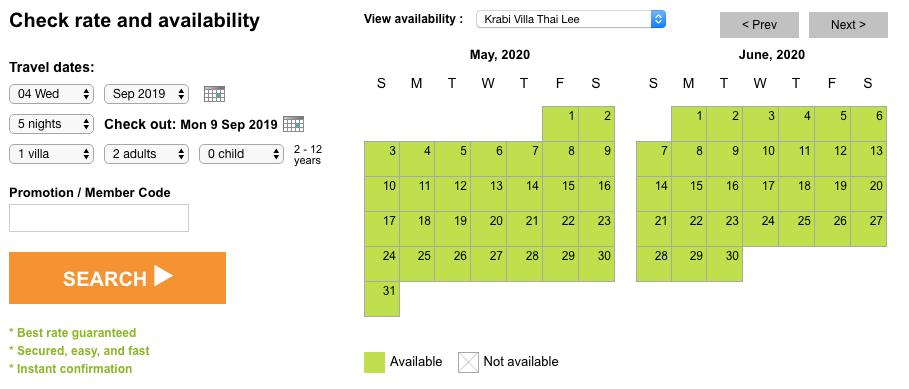 Villa Thai Lee rates and availability