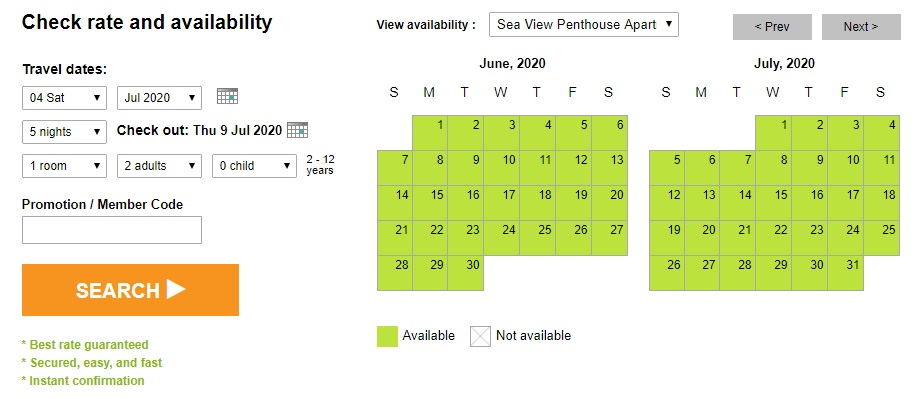 Sea View Penthouse rates and availability