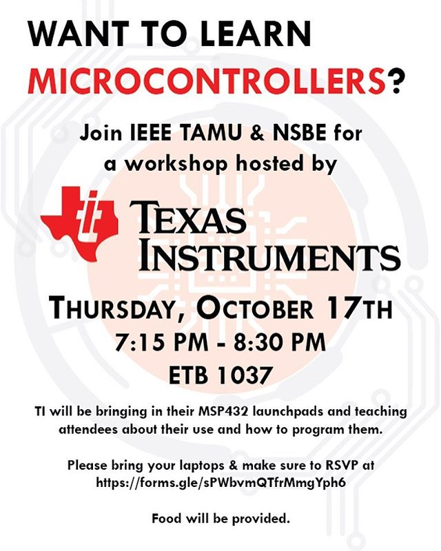 Come out tomorrow to learn about Microcontrollers from TI! ⚡️