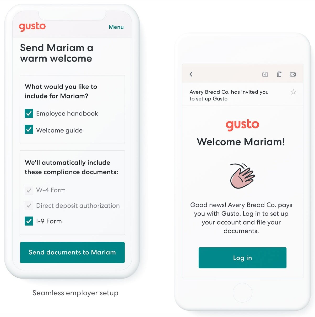 Employee-friendly, and less work for you. - Employees onboard themselves right in Gusto. Pay stubs and W-2s are online and easy to find. Fun, automatic payday emails for every employee. Former employees can still access their forms.