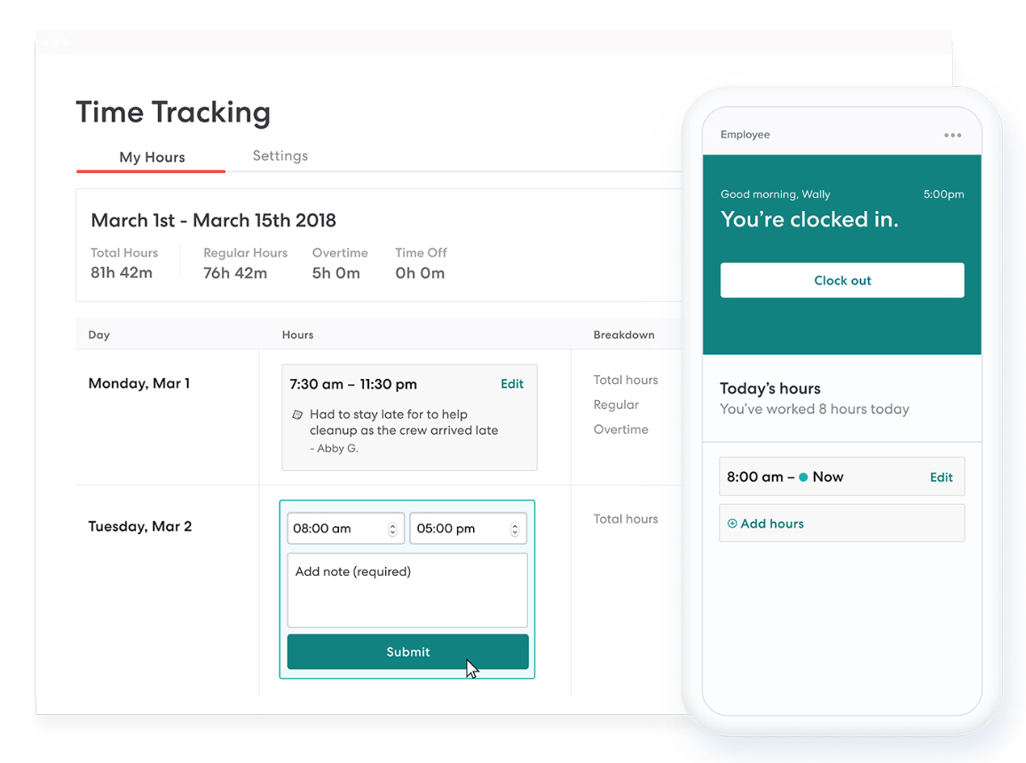 Track hourly work the easy way. - Hourly employees enter hours right in their account. Once a manager approves, you just click to sync to payroll.People love how simple it is. But some businesses like restaurants and retail have complicated time tracking needs. If that's you, check out our integration with TSheets.