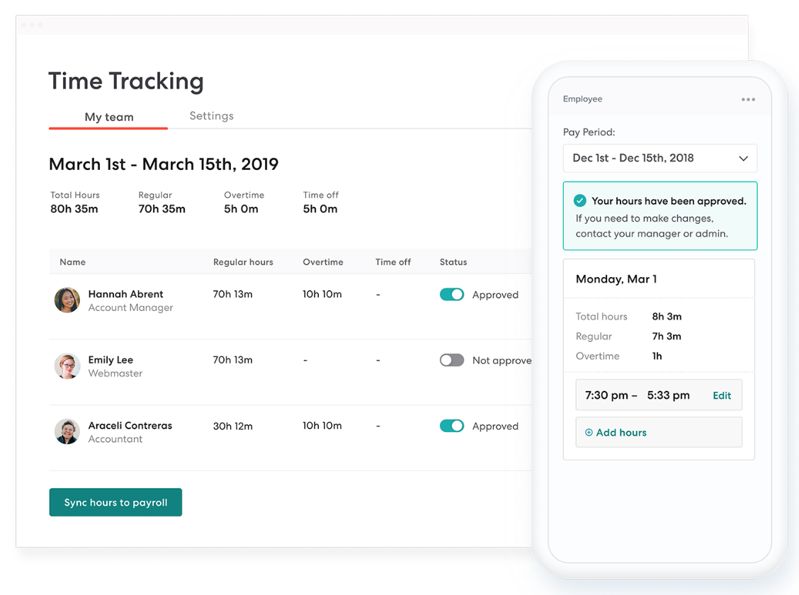 Paid time off as unique as your team. - Customize your paid-time-off policies to fit your team's needs, then run reports with a click of a button. It's all organized by date, department, or employee so it's easy to navigate.And remember, automatically calculated PTO liabilities means your accounting stays headache-free.