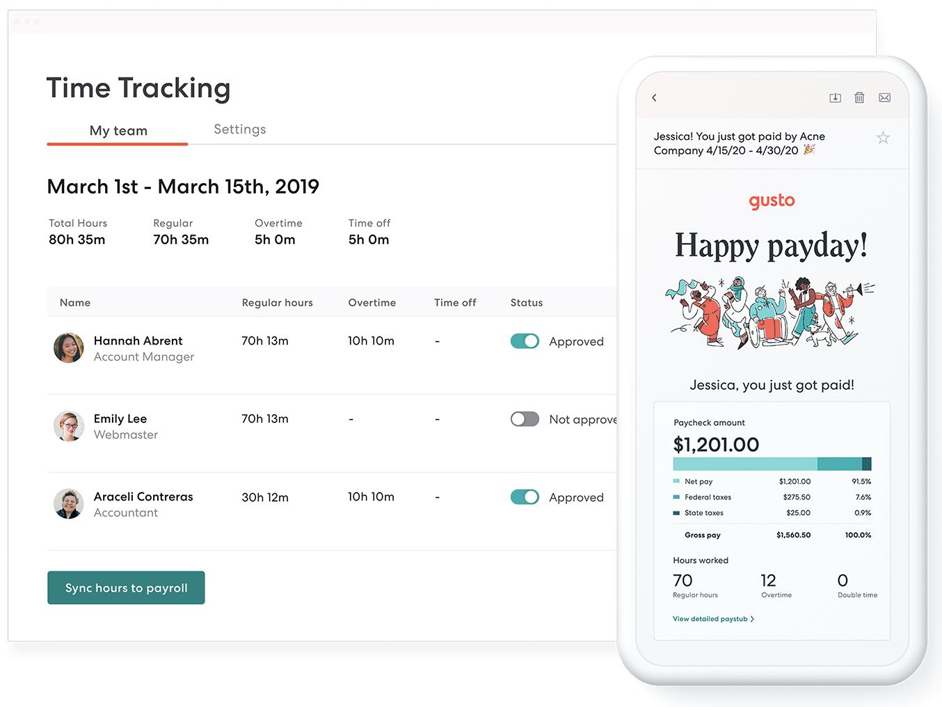 The best time tools? The ones that sync with payroll. - Track everything in one place. One password to remember. One place to manage it all. One click to sync with payroll.Automate the most tedious tasks. See ya later, spreadsheets. We'll automatically calculate your team's wages and track time off.Don't sweat compliance details. Store wage records automatically and get help with compliance, overtime, and more.