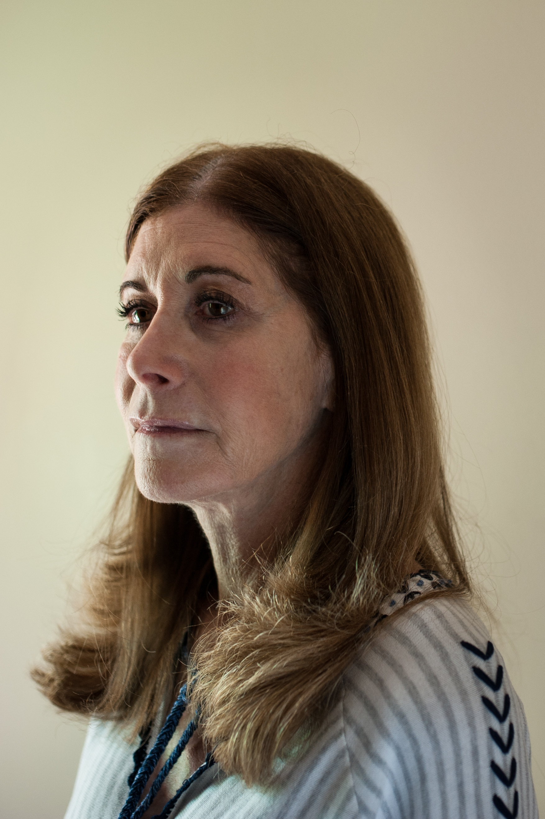 Linda Schulman at her home in Dix Hills, NY May 2018. Schulman's son, Scott Beigel, was a geography teacher and cross country coach who was one of 17 people killed in the mass shooting at Marjory Stoneman Douglas High School on February 14, 2018. Photographed for ESPN