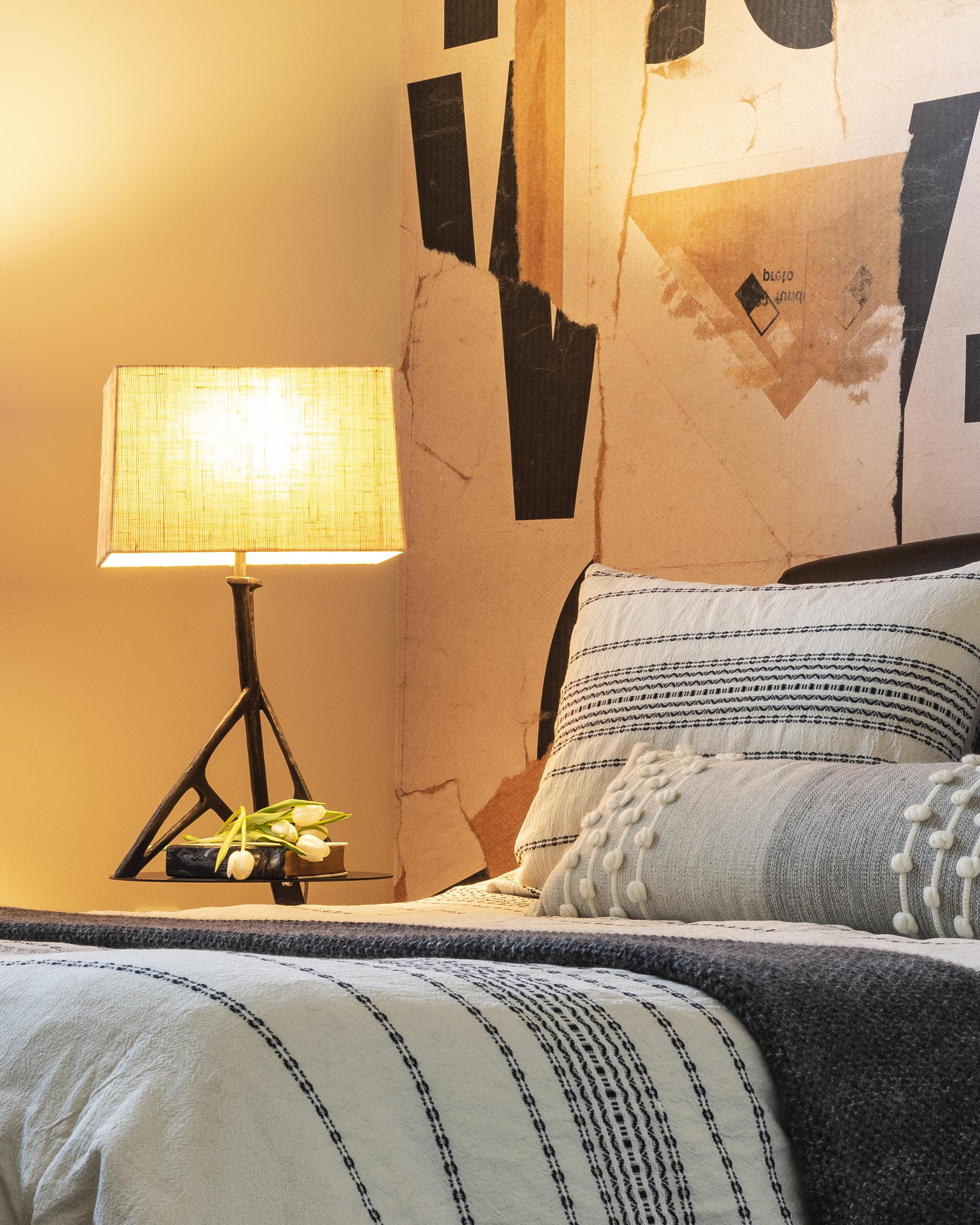 Bedroom with bed and table lamp