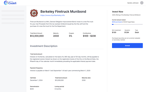 Chart 6: Investor view of Municipal Bond Offering pre- investment - Codefi lowers accessibility barriers through user-centric design